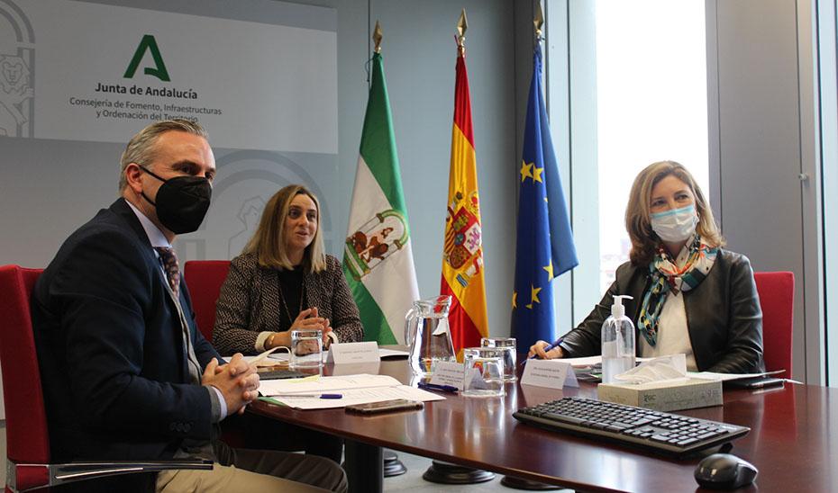 La consejera de Fomento, Marifrán Carazo, durante su reunión con representantes del Tercer Sector.