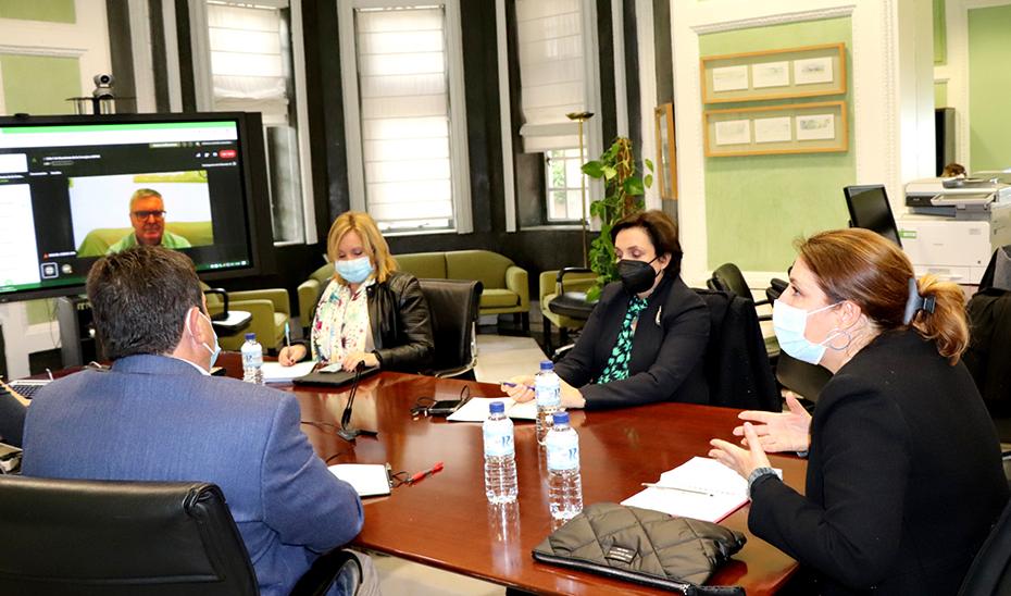 Carmen Crespo, en un momento de la reunión telemática con Miguel Cobos sobre la PAC.