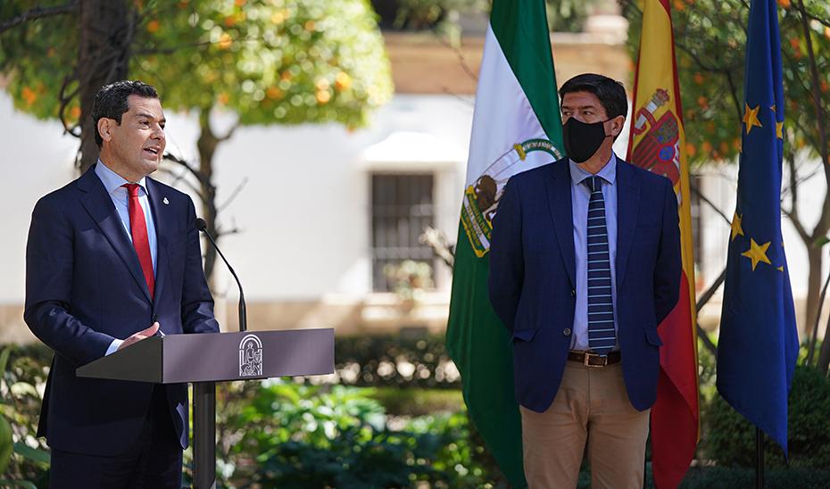 Intervenciones de Juanma Moreno y Juan Marín tras la reunión del Consejo de Gobierno en Ronda