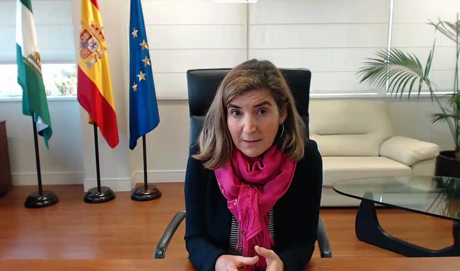 La consejera de Empleo, Rocío Blanco, durante la presentación virtual del informe.