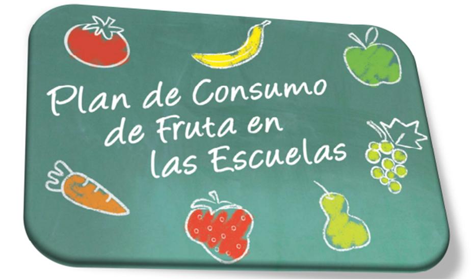 Póster del plan de consumo de frutas en las escuelas.
