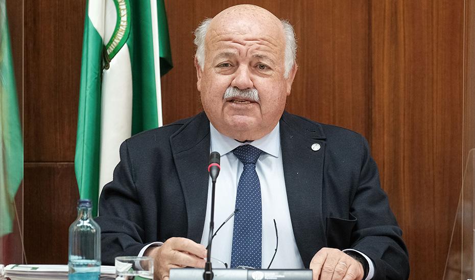 El consejero de Salud y Familias, Jesús Aguirre, durante la comisión parlamentaria.