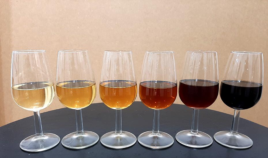 La variedad cromática que ofrecen los vinos del Marco de Jerez, a partir de una uva blanca como la Paliomino (Foto: Miguel Lara).