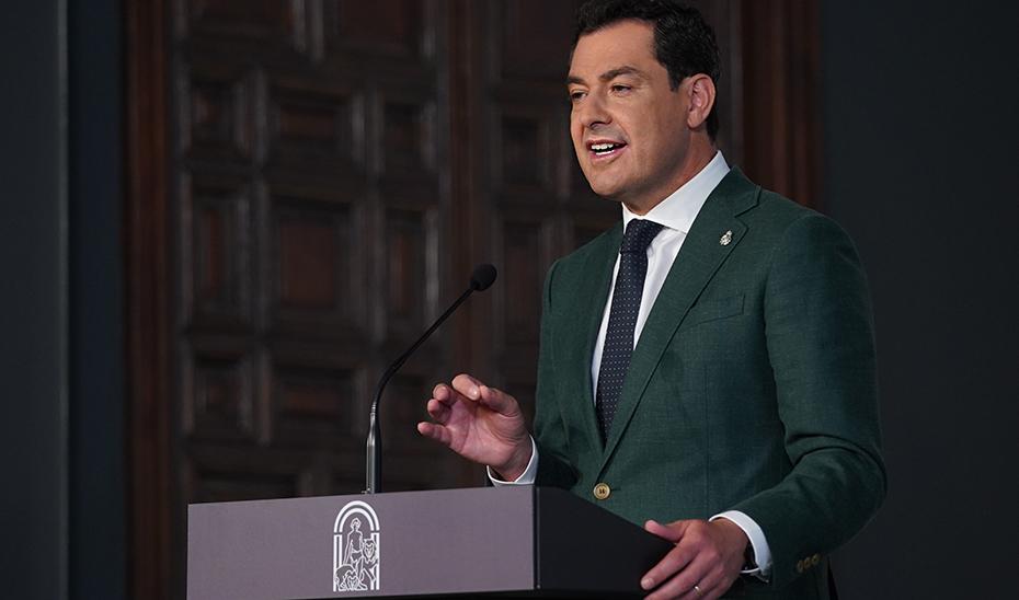 Moreno, durante su comparecencia para informar sobre las nuevas medidas de Andalucía frente al Covid.