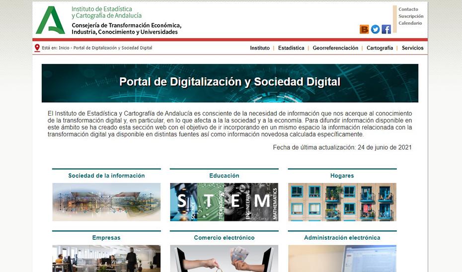 Página de inicio del nuevo portal del IECA sobre sociedad digital.