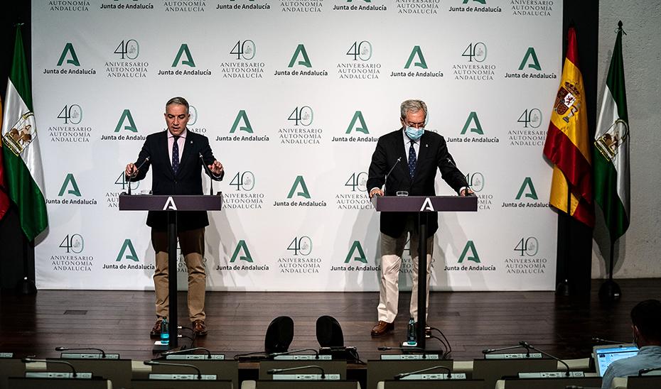 Comparecencia informativa de Elías Bendodo y Rogelio Velasco tras la reunión del Consejo de Gobierno (audio íntegro)