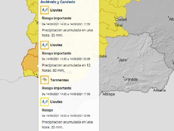 Activado para esta tarde el aviso naranja por lluvias y tormentas en las comarcas de Aracena, Andévalo y Condado (Huelva)