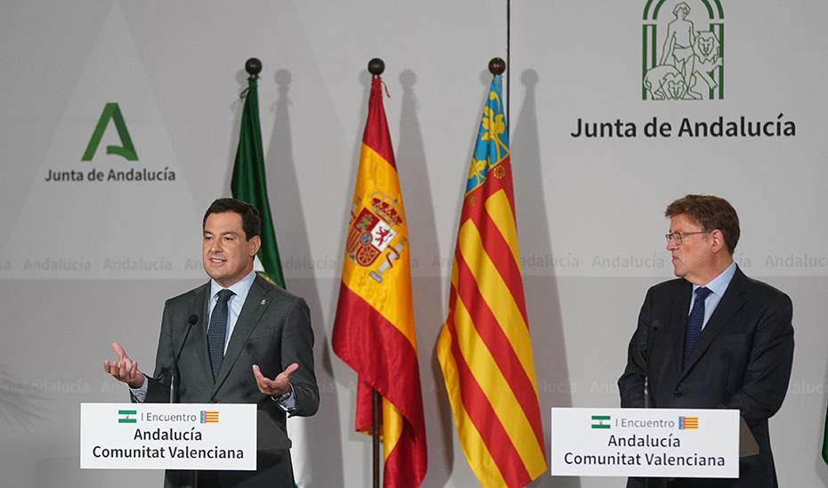 Encuentro de Juanma Moreno y Ximo Puig en San Telmo (vídeo íntegro)