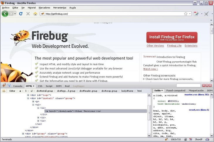 Firebug para Firefox