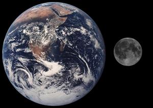 Comparación en escala de la Luna y la Tierra.