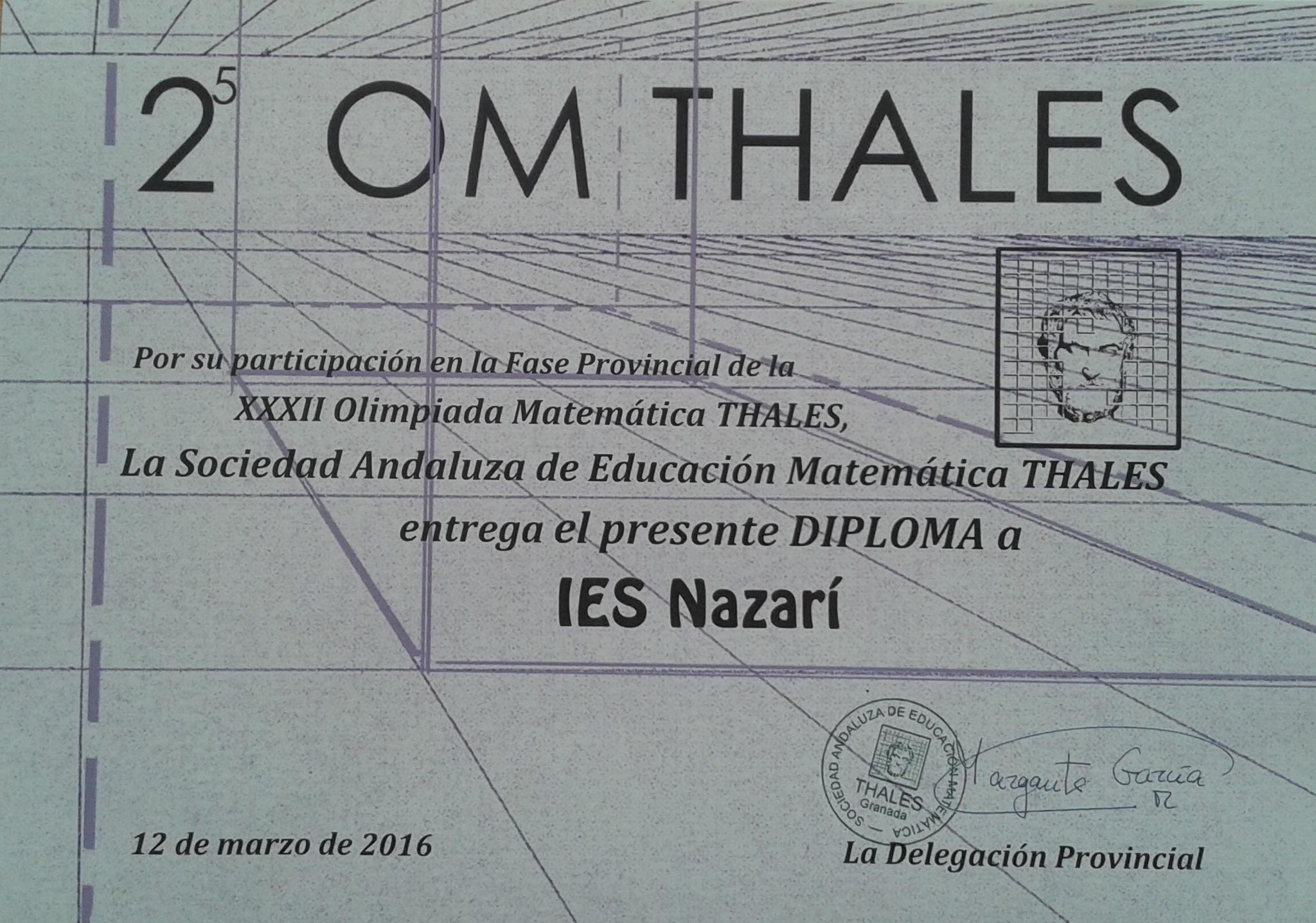 Diploma de Thales. 2016