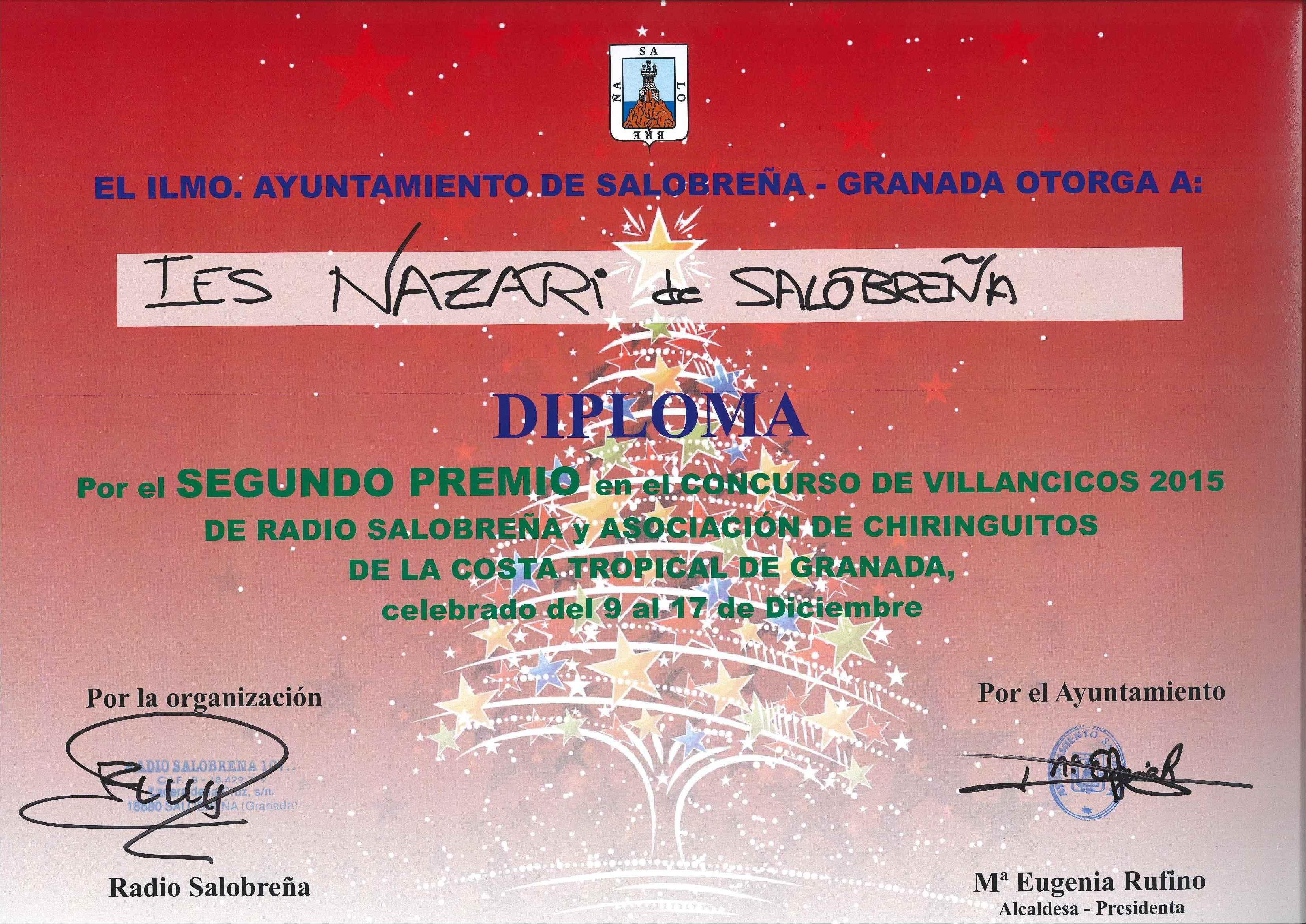 DIPLOMA_CONCURSO VILLANCICOS_2015