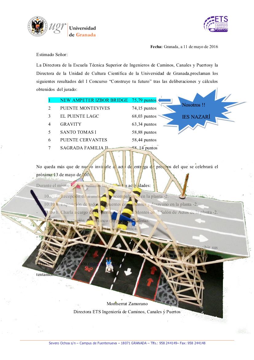 Puente ganador del tercer premio 2016