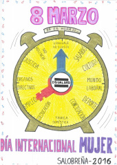 un reloj par la igualdad gana el premio del concurso de carteles para el 8 de marzo.