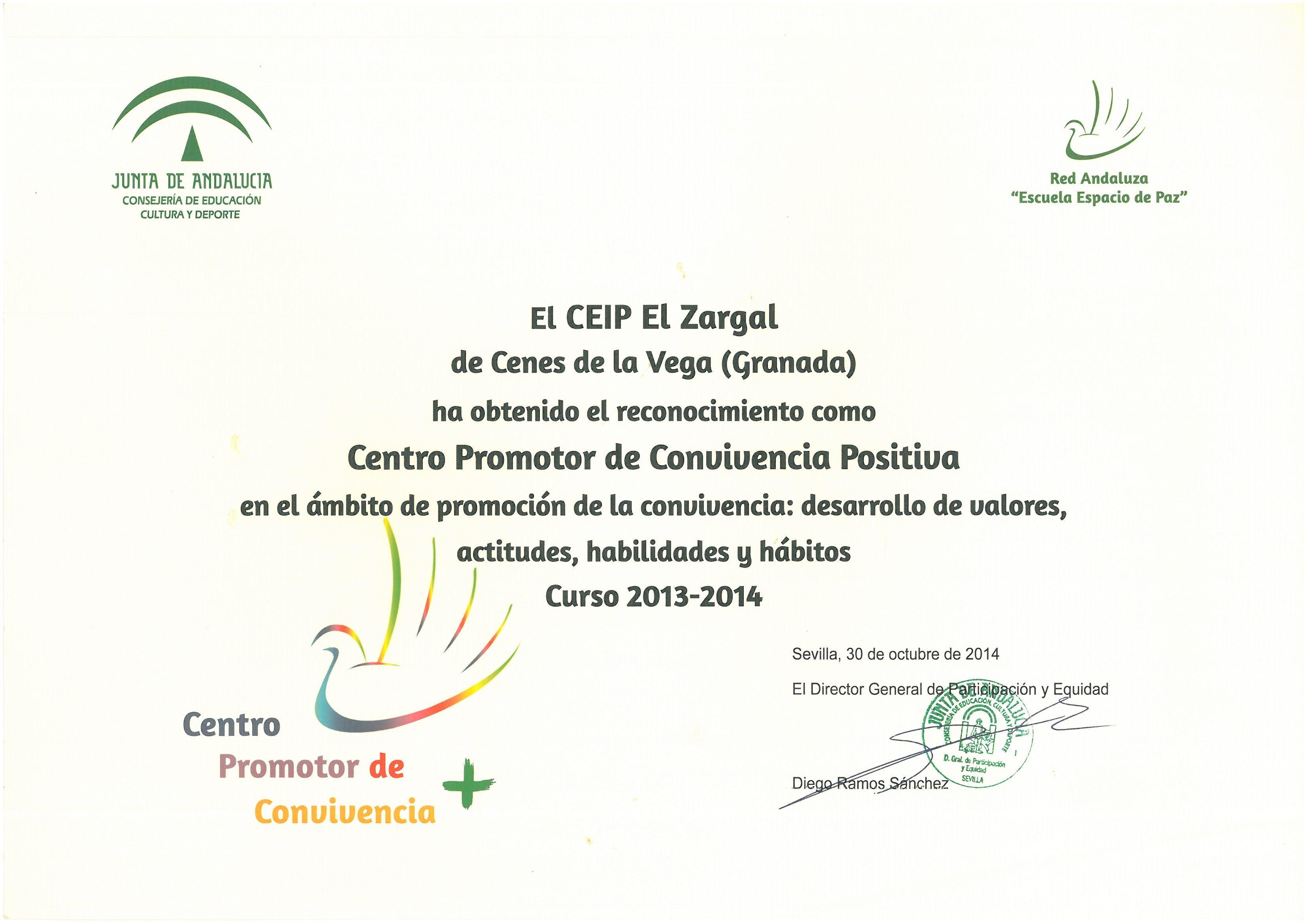 Certificado Convivencia 2013-14