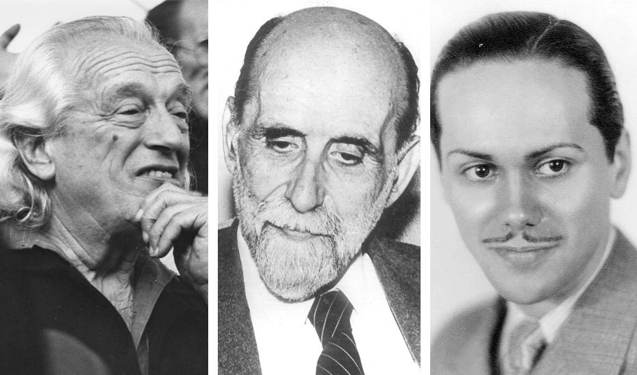 De izquierda a derecha, los poetas andaluces Rafael Alberti, Juan Ramón Jiménez y Luis Cernuda