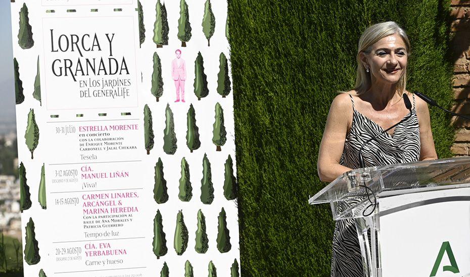 Del Pozo, durante la presentación de una nueva edición del ciclo 'Lorca y Granada en los Jardines del Generalife'