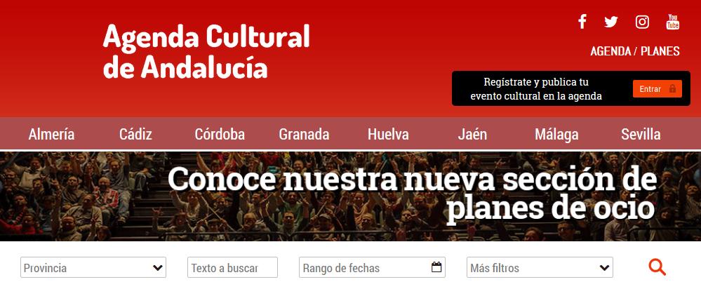 Cabecera de la página web de la Agenda Cultural de Andalucía