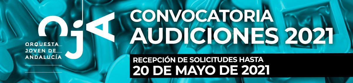 Banner sobre la convocatoria de audiciones 2021 de la OJA