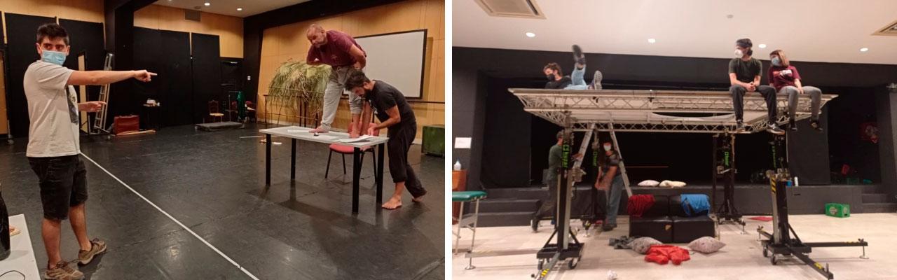 Preparación de la escenografía de los dos montajes