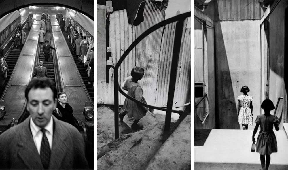 © Sergio Larraín. Foto izquierda: Estación del metro de la calle Baker, Londres, Inglaterra (Reino Unido, 1958-1959. Foto centro:  © Sergio Larraín. Valparaíso, Chile, 1952. Foto derecha:  © Sergio Larraín. Pasaje Bavestrello, Valparaíso, Chile, 1952.