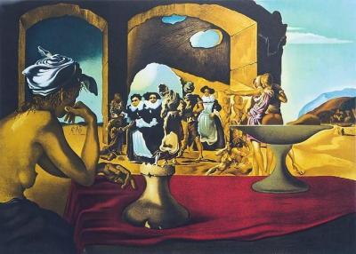 Marche aux esclaves avec disparition d'un buste de Voltaire, Dalí