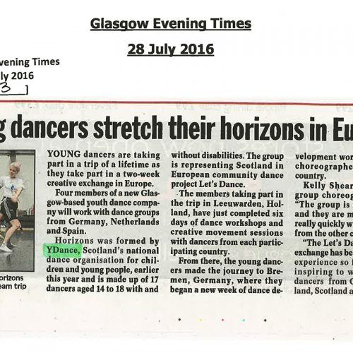 PRESS - Holland & Bremen Creative Exchange - Glasgow Evening Times
