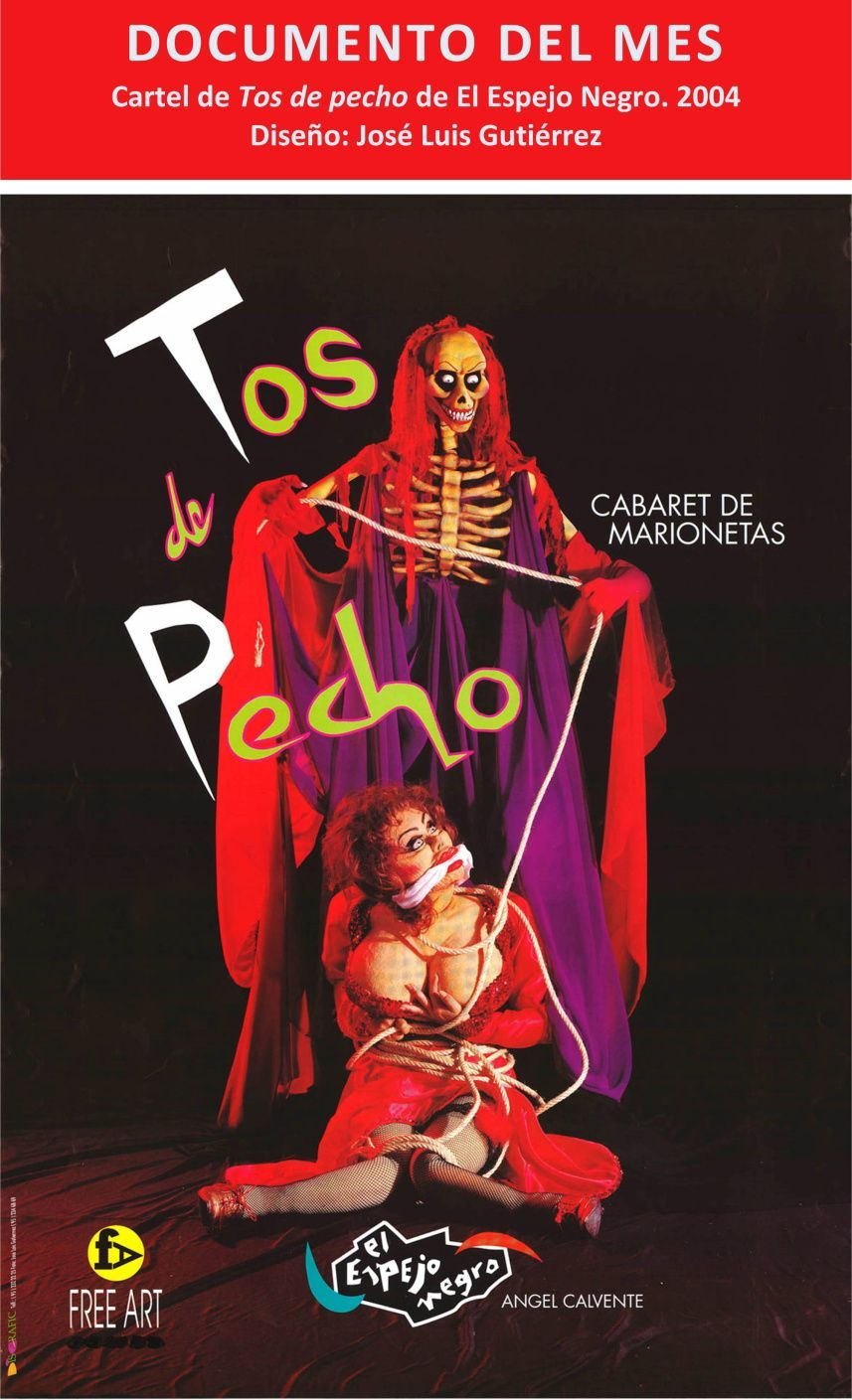 """Cartel del espectáculo """"Tos de pecho"""", El Espejo Negro 2004. Diseño: Jose Luis Gutiérrez"""