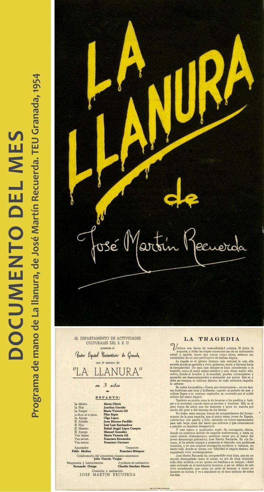 Programa de mano de La llanura, de José Martín Recuerda. TEU Granada, 1954