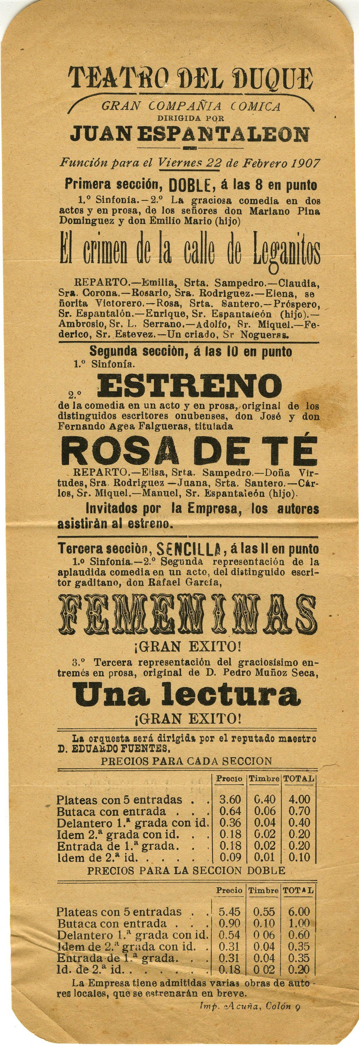 Programa del 22 de febrero de 1907. Teatro del Duque
