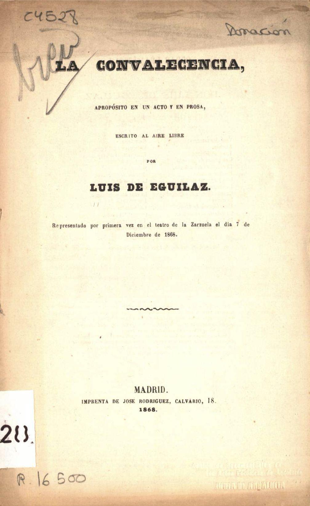 """""""La convalecencia"""" de Luis de Eguilaz"""