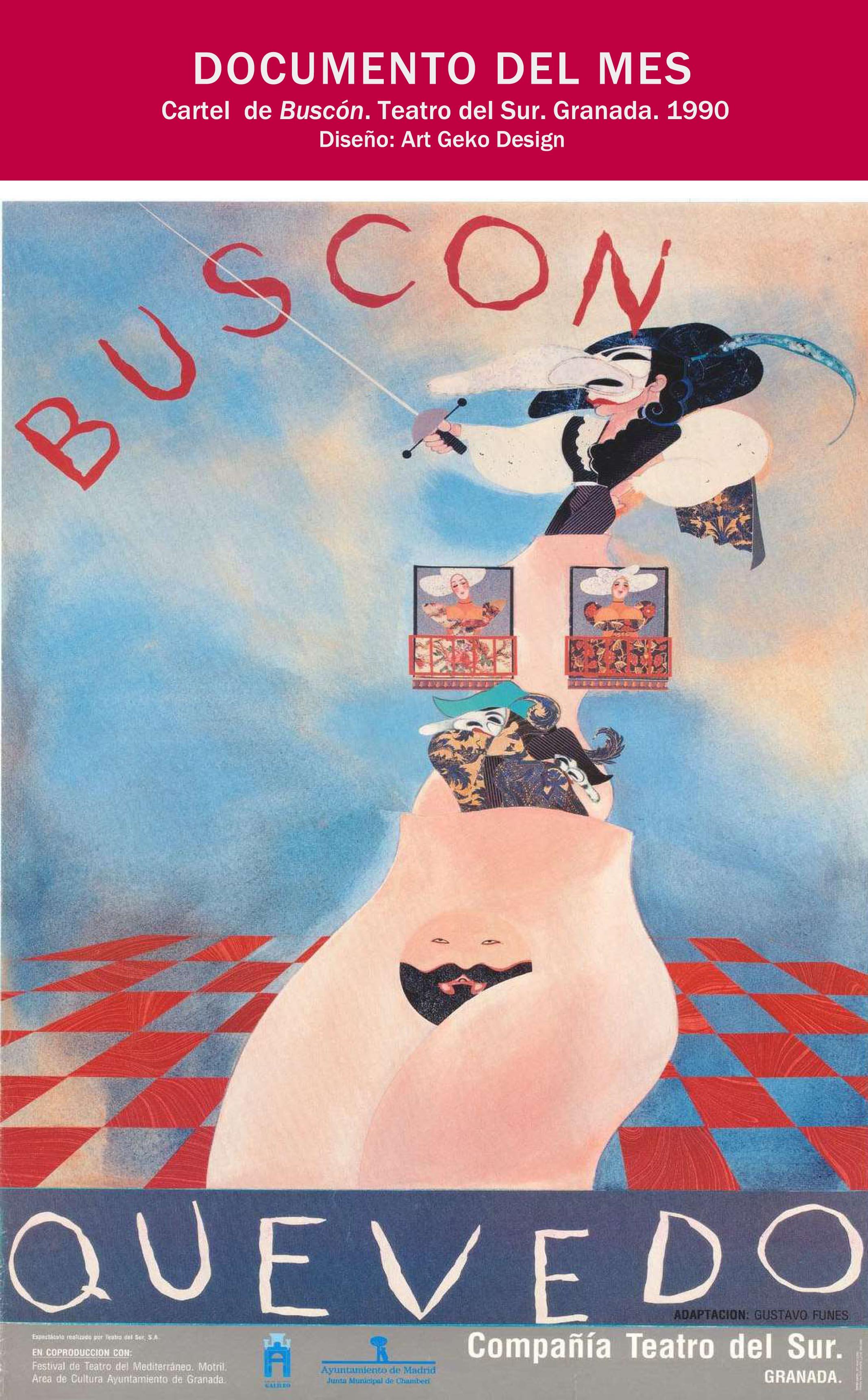 """Cartel  de """"Buscón"""". Teatro del Sur. 1990"""