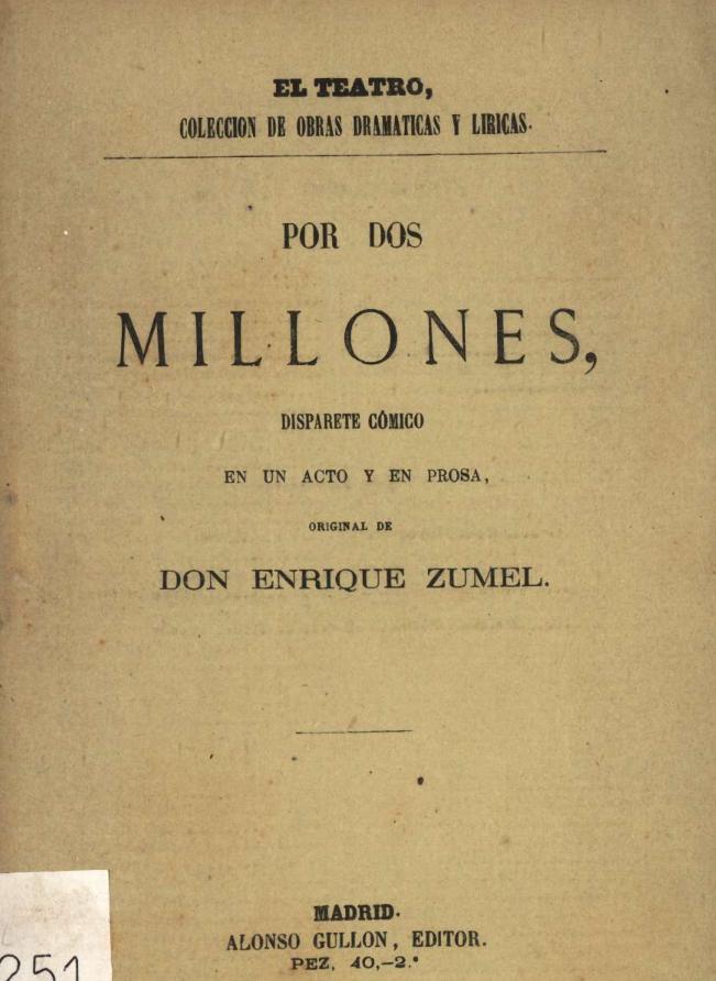 """""""Por dos millones"""" de Enrique Zumel"""