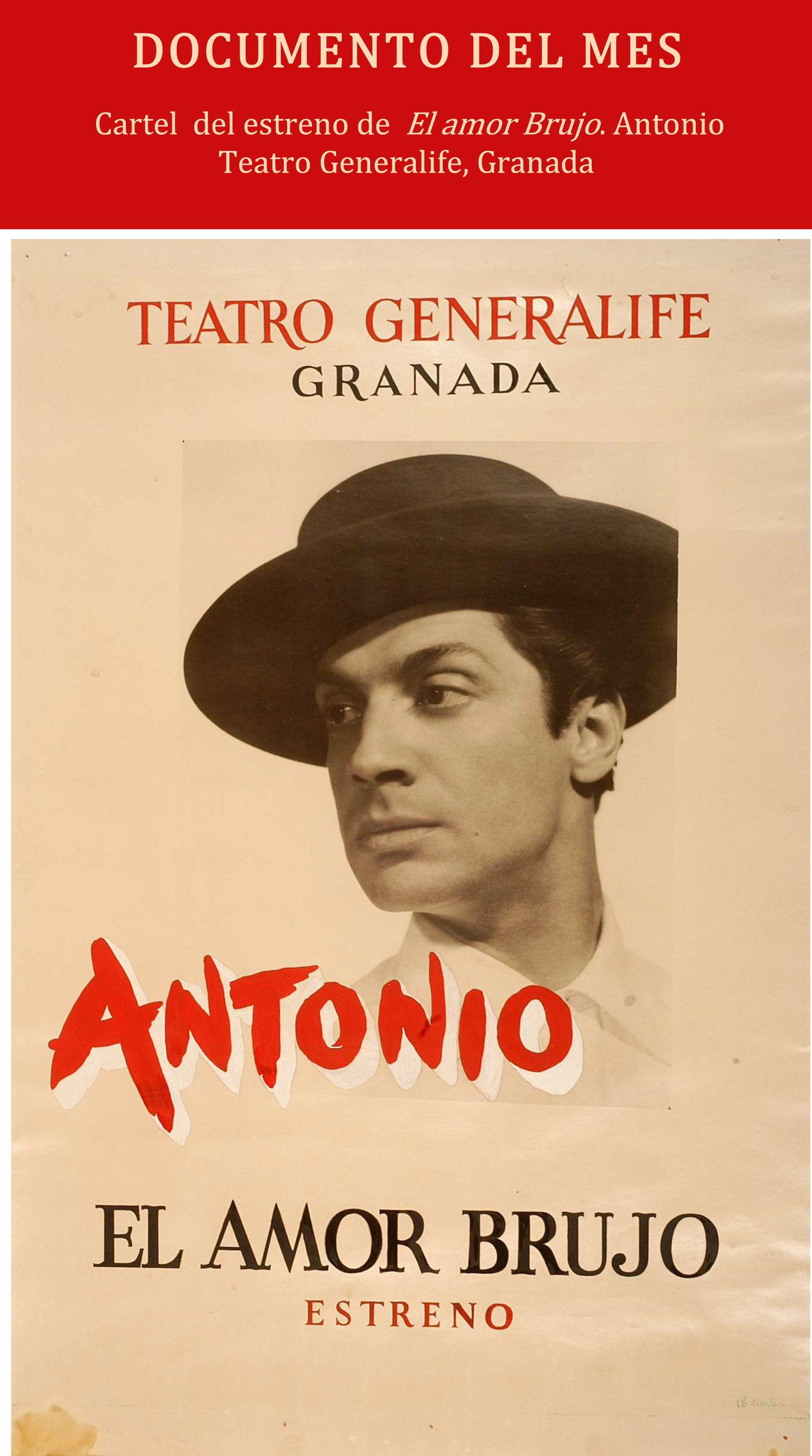 """Cartel del estreno de """"El amor brujo en el Teatro del Generalife"""". Granada, 1955"""