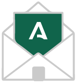 Dibujo de un sobre abierto con el símbolo A de la Junta de Andalucía