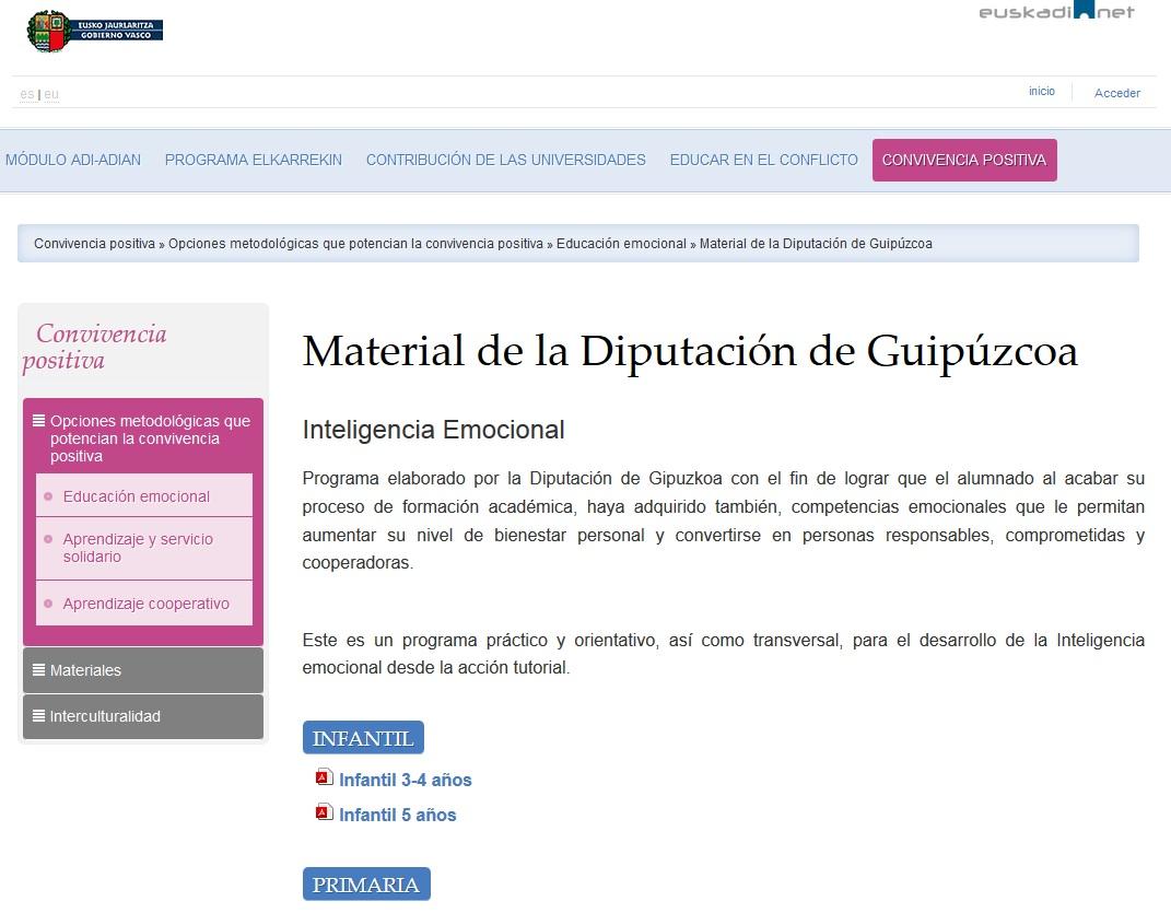 Educación emocional diputación foral
