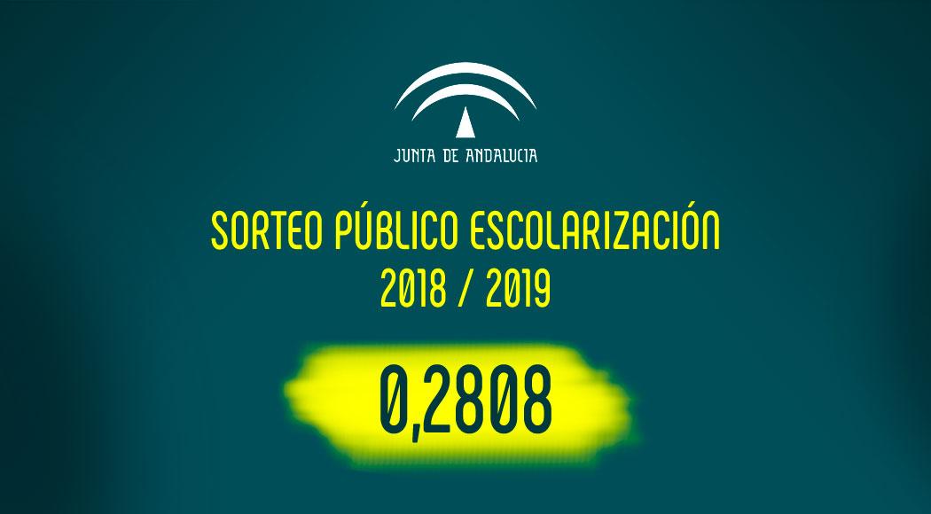 Sorteo público escolarización 2018 - 19: número 0,2808