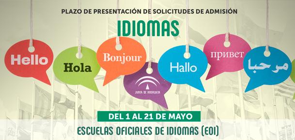 Plazo de presentación de solicitudes de admisión en las Escuelas Oficiales de Idiomas desde el 1 al 21 de mayo