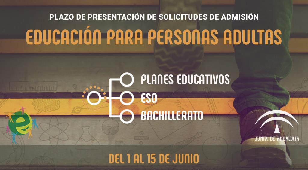 Plazo de presentación de solicitudes de admisión en Educación para Personas Adultas - Del 1 al 15 de junio