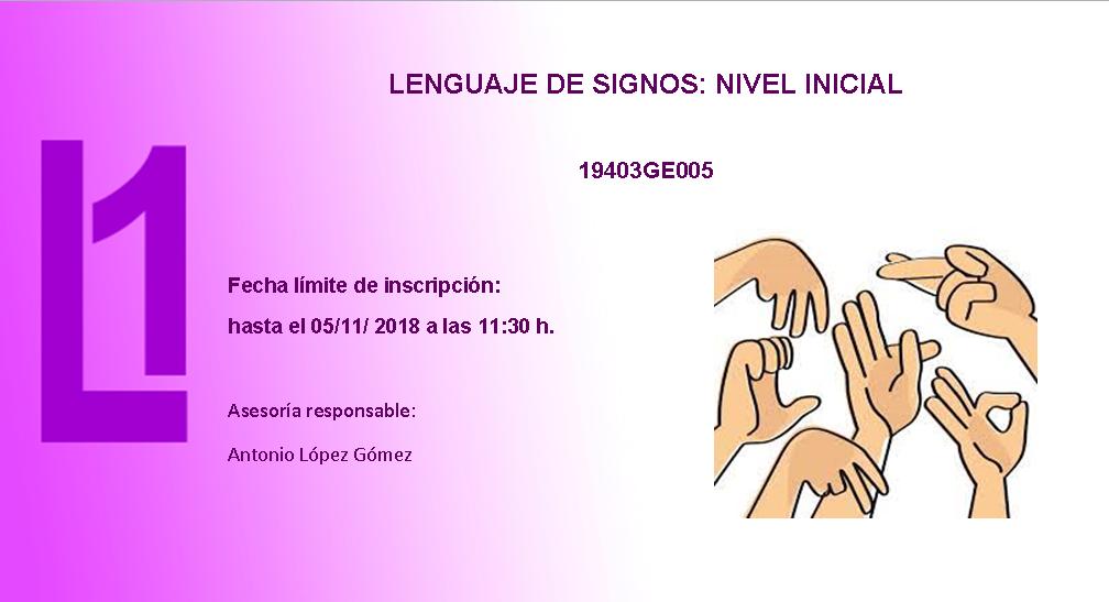 Curso inicial de lenguaje de signos