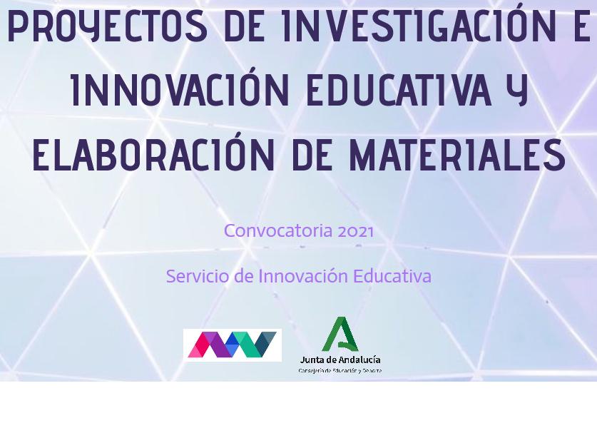 Convocatoria de Proyectos de Innovación, Investigación y Elaboración de Materiales Curriculares (clicar en la imagen para más información)