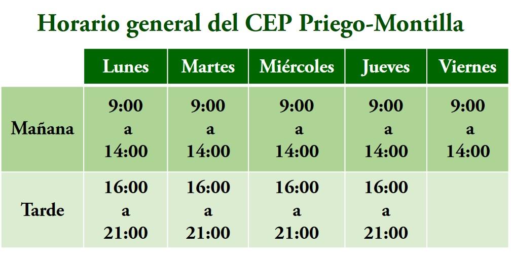 Datos de contacto del Centro del Profesorado de Priego - Montilla