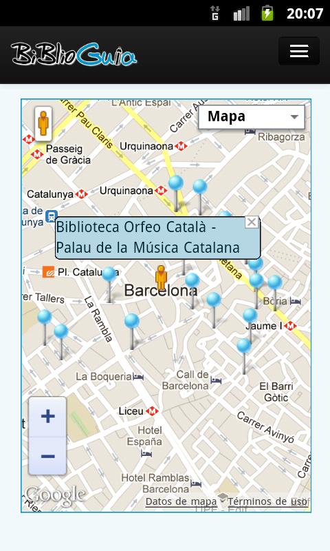Captura de pantalla de la aplicación Biblioguia 2