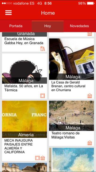 Captura de pantalla de la aplicación Agenda Andalucía Tu Cultura 2
