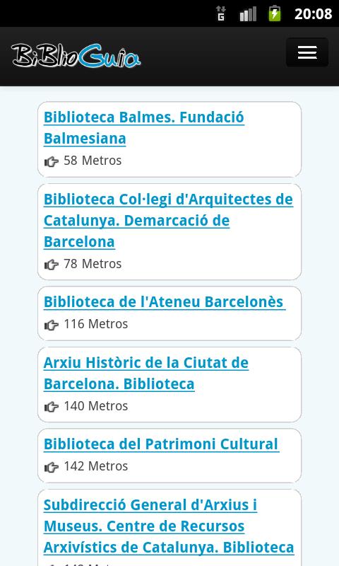 Captura de pantalla de la aplicación Biblioguia 3