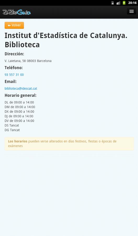 Captura de pantalla de la aplicación Biblioguia 7