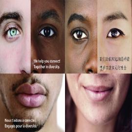 Cartel de una campaña sobre diversidad, con rostros de personas de diferente color y lemas inclusivos en distintos idiomas