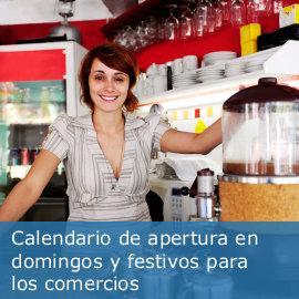 Calendario de apertura de domingos y festivos de establecimientos comerciales