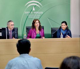 La Consejera de Salud, María Jesús Montero, durante la presentación