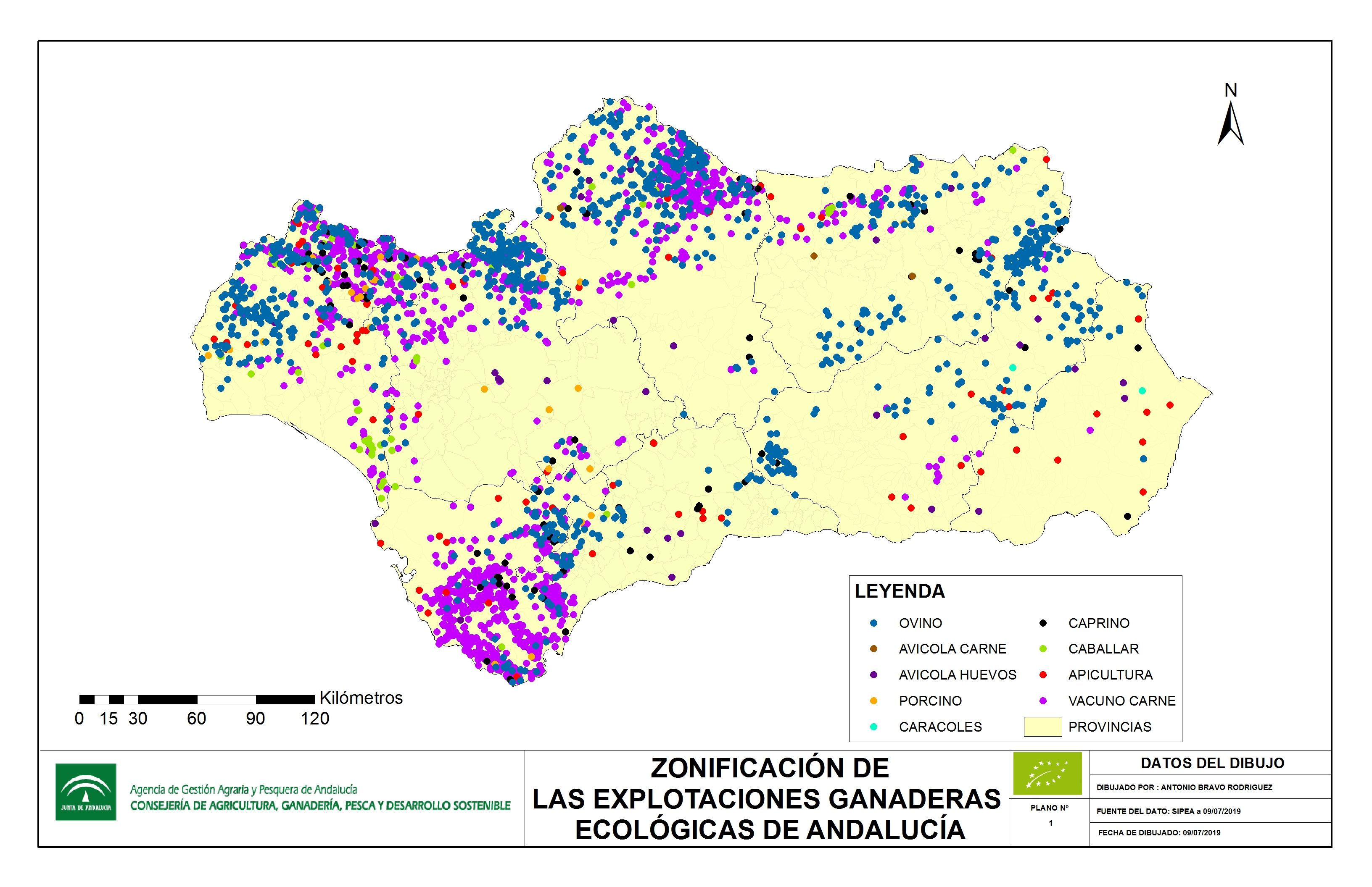 mapa de localización delas explotaciones ganaderas andaluzas a 9/07/2019